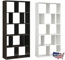 12 Shelf Bookcase Bookshelf Storage Wall Rack Organizer Cubby Holder Furniture
