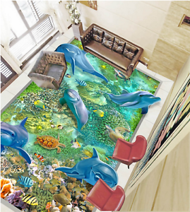 3D Dolphin ocean 4536 Floor WallPaper Murals Wall Print Decal 5D AJ WALLPAPER