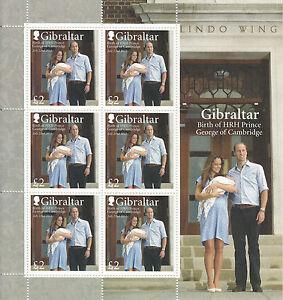 Gibraltar 2013 MNH Birth Prince George Cambridge 6v M/S Prince William Stamps