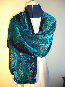 Velvet devore scarf   Floral design in shades of blue and jade on black   NEW