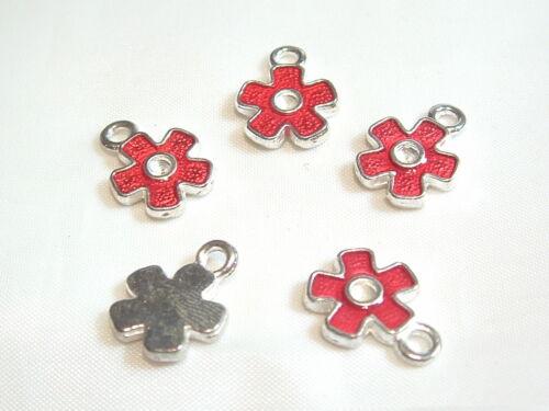BNEC31 Red 10 x Enamel Flower Charms
