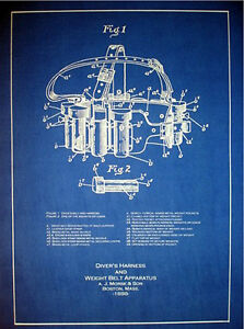Vintage Hard Hat Morse Diving Weight Belt 1898 Blueprint Plans 15 x 21(207)