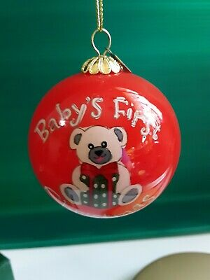 PIER 1 IMPORTS LI BIEN BABY's FIRST CHRISTMAS 2018 ORNAMENT RED BEAR W// GIFT BOX