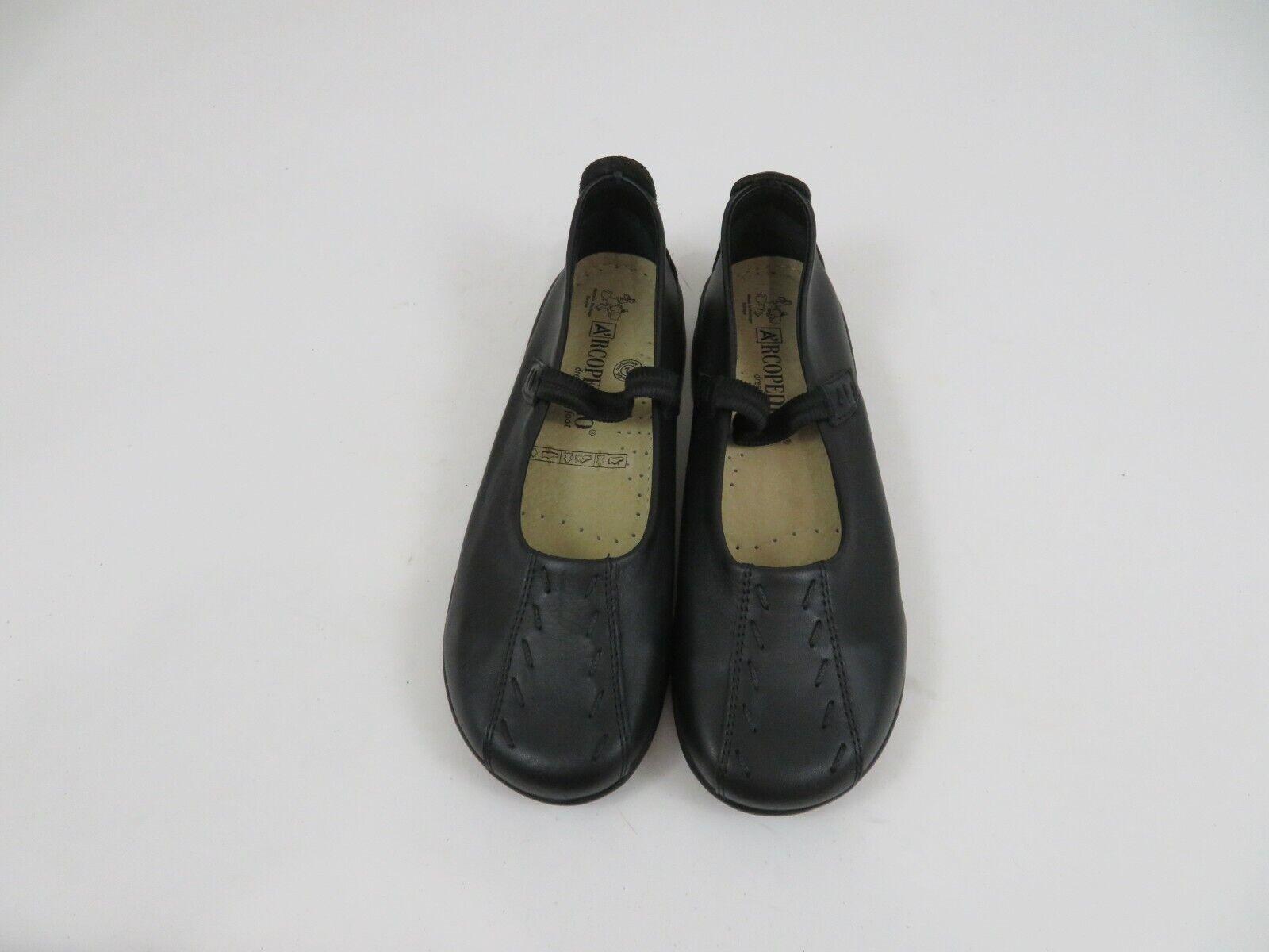 A'rcopedico Shawna Black Leather Flats Shoes Mary Jane Womens EU 39 US 8-8.5