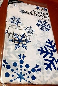 3 Blue Snowflake Plastic Table Covers Winter Christmas