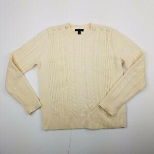 JCrew-Wool-Sweater-Cable-Knit-Women-039-s-Size-Medium-Cream-Preppy-Cozy-Buttons