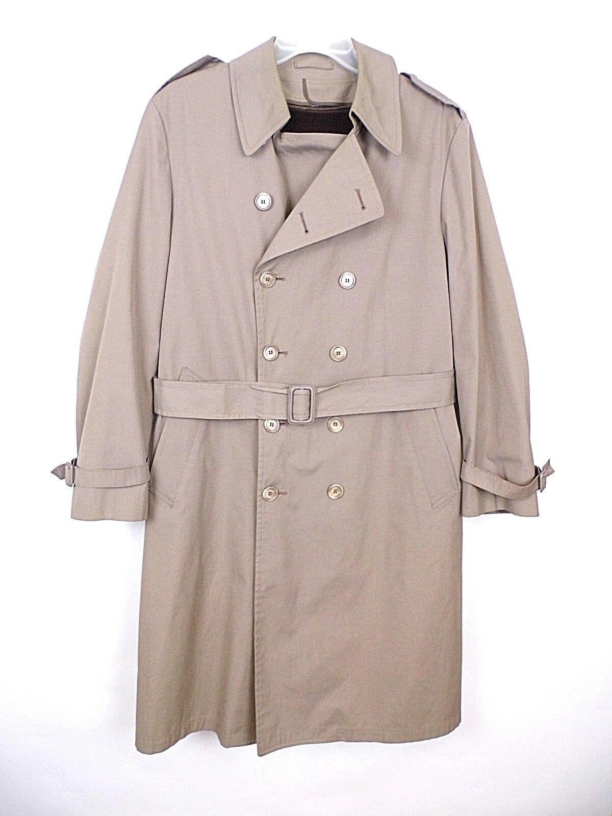 LONDON FOG  Herren 40 Reg Tan Trench Coat Double Breasted with Belt and Liner GUC