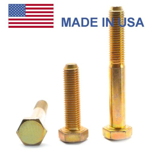 "1//4/""-28 x 1//2/"" Fine Grade 8 Hex Cap Screw Bolt FT - USA Yellow Zinc"