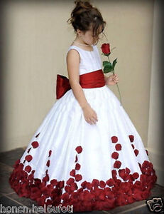 Red And White Bow Knot Rose Satin Ball Gown Wedding Flower Girl