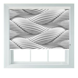 White Twirl Ultra Modern 3D Photo Black Out Roller Blind Various Sizes 2 3 4 5ft