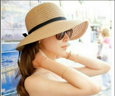 Hot Women's Wide Brim Summer Beach Sun Hat Straw floppy Elegant Bohemia cap