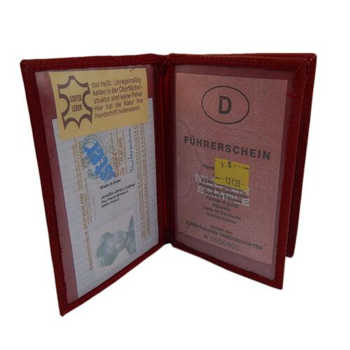 Ausweisetui Ausweishülle Kreditkartenetui Ausweismappe Leder KFZ-Scheinhülle Rot