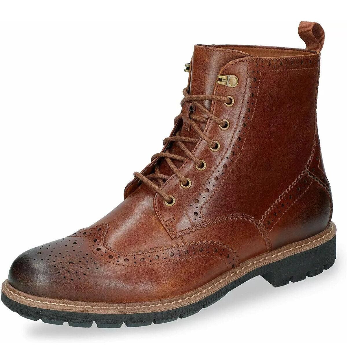 Clarks Batcombe Lord Brogue Dark Tan Leather Mens Boots Size UK 7.5 G (41.5EU)