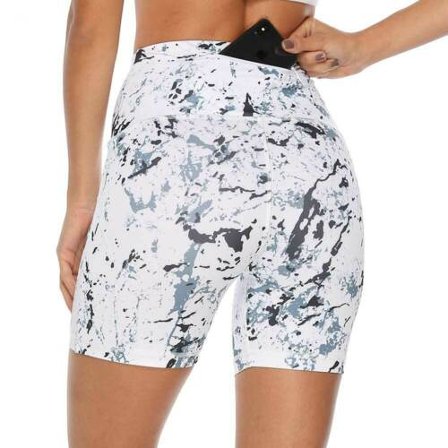 Womens Short Leggings Butt Lift Compression Yoga Pants Sports Gym Fitness Pocket