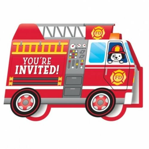 Flaming Fire Truck Popup Invitations w/Envelopes 8 Per Pack Firefighter Birthday