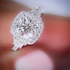 14k 160 Ct Round Cut Diamond Half Moon Halo Cushion Engagement Ring