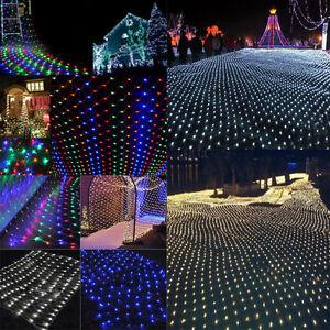3M-2-M-6m-4m-Guirlande-lumineuse-LED-feerique-filet-maille-Rideau-Noel