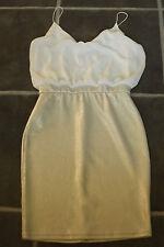 LADIES BNWOT TFNC ASOS M WHITE SILVER COCKTAIL PARTY STRAPPY DRESS UK 12 EUR 40