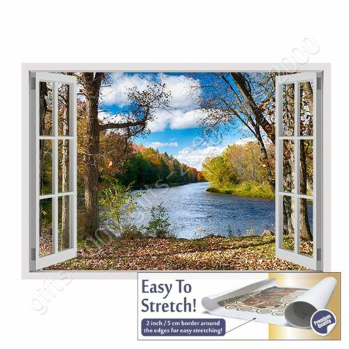 Lake In The Autumn by Fake 3D WindowCanvas Rolled Wall art HD painting