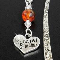 """Hand-crafted Antique Silvertone Bookmark, Crystal Beads, """"Special Grandma"""" Charm"""