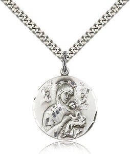 Sterling-Silver-Men-039-s-O-L-of-PERPETUAL-HELP-Pendant-Includes-24-Inch-Heavy