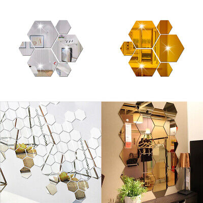 Wall Stickers 12Pcs 3D Mirror Hexagon Vinyl Removable ...