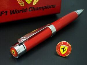 OFFICIAL-FERRARI-F1-WORLD-CHAMPIONS-BALL-PEN-W-CHAMPION-PIN-SET
