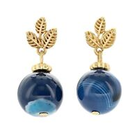 Drop Earrings Dark Blue Marble Semiprecious Stone Matte Gold Finish Posts
