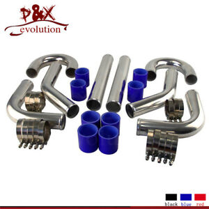 TURBO-INTERCOOLER-PIPE-2-034-CHROME-ALUMINUM-PIPING-T-CLAMPS-SILICONE-HOSES-BLUE