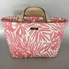 Kate Spade Pink White Grant Street Jules Palm Print Clasp Top Tote Bag