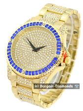 mens big gold tone blue CZ ice out case dial bracelet clubbing watch Techno Pave