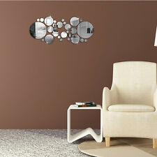 Removable Circles Mirror Style Silver Decal Vinyl Art Wall Sticker Home Decor