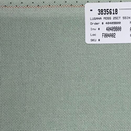 Cross Stitch 25 count Lugana even weave Zweigart Moss celadon grey green 18 x 27