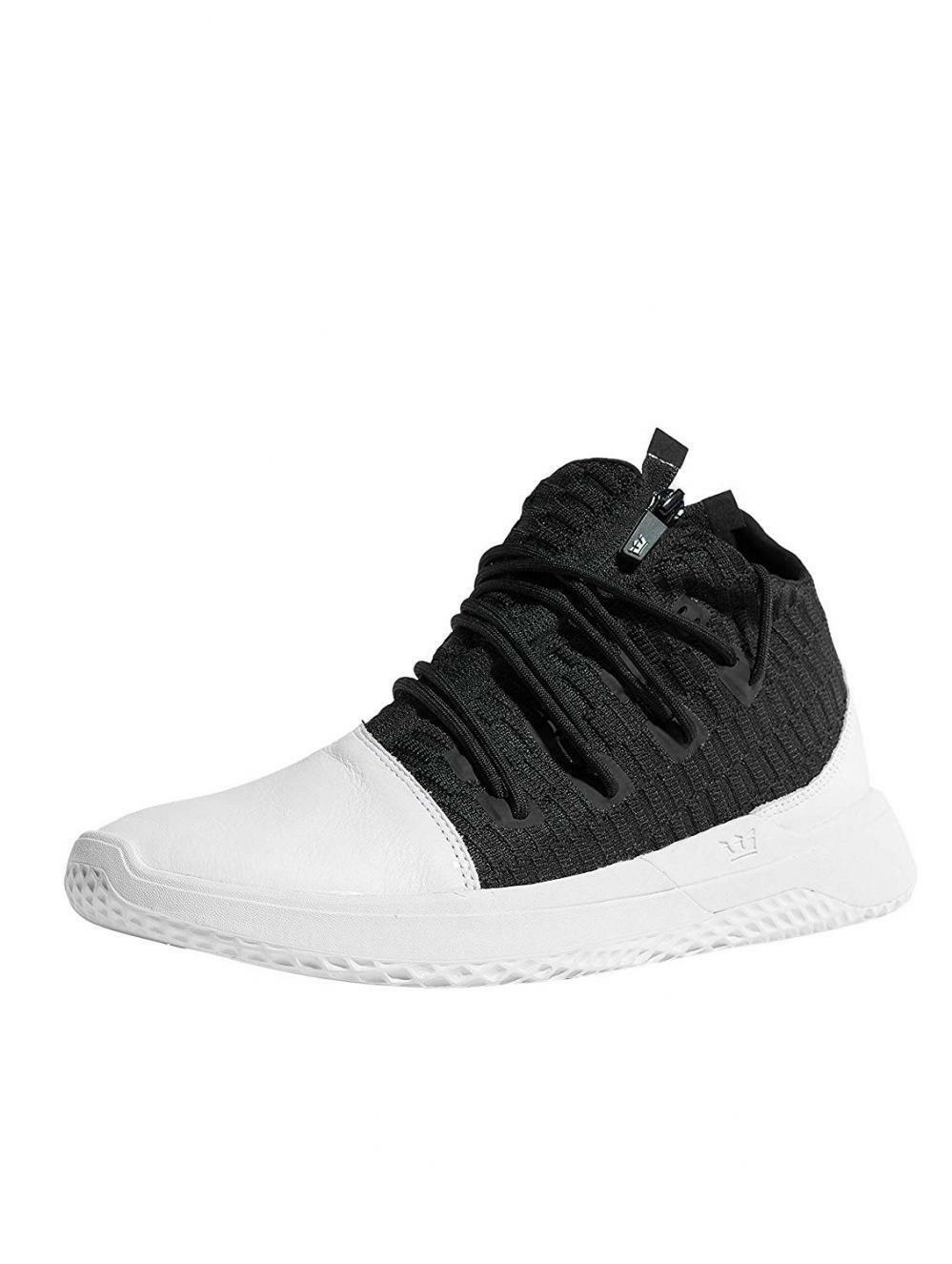 Supra Reason Mens Black Leather Textile Athletic Lace Up Training shoes Walking