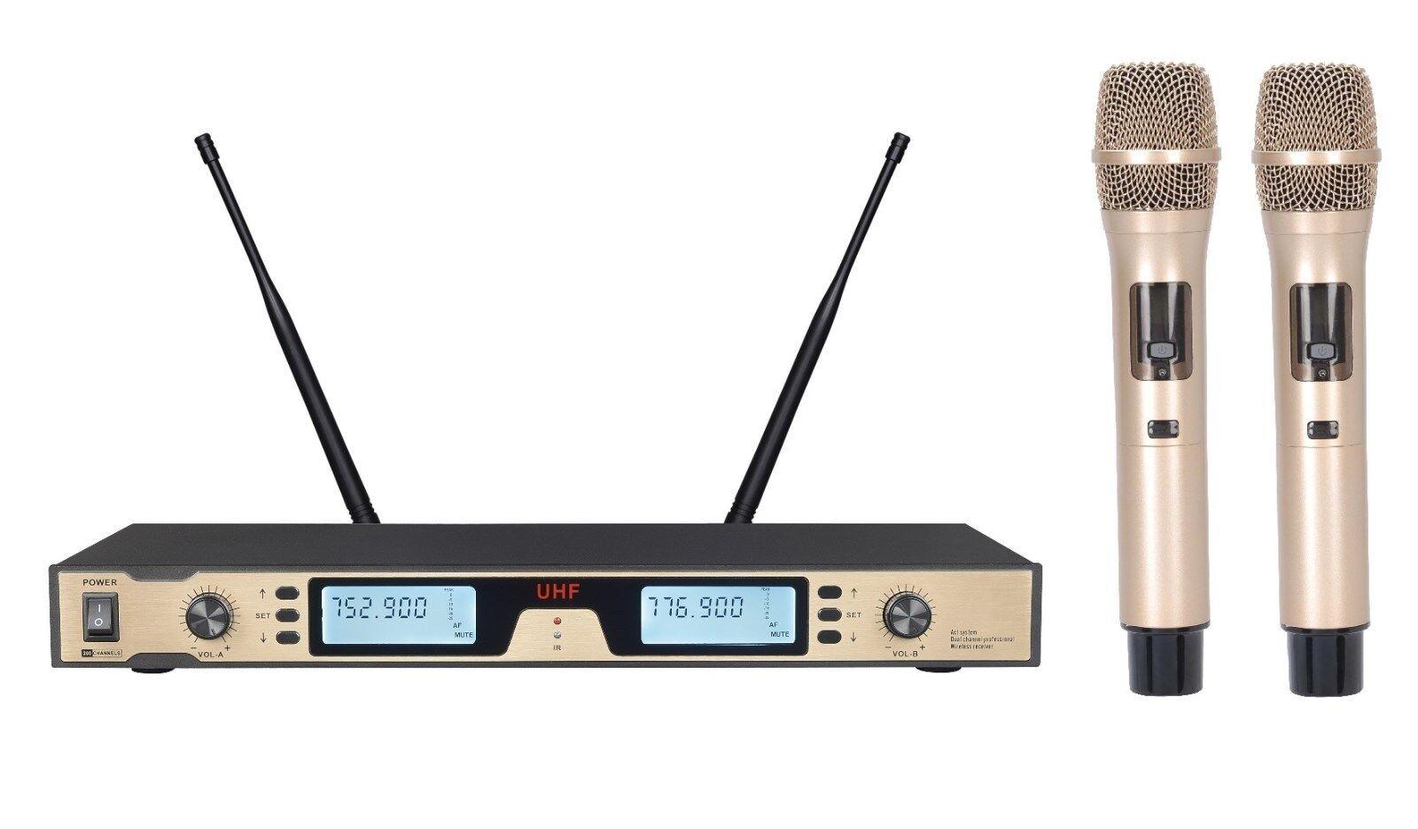 Pro radio inalámbrica UHF UHF UHF Doble Micrófono Mic Doble Mano Dorada de oro 9cc081