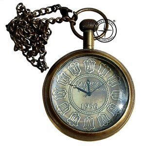 Antique-Brass-Marco-Polo-Pocket-Watch-Vintage-Nautical-Clock-With-Chain-Pandent