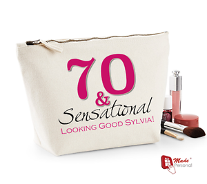 Image Is Loading Personalised Make Up Wash Bag 70th Birthday Gift