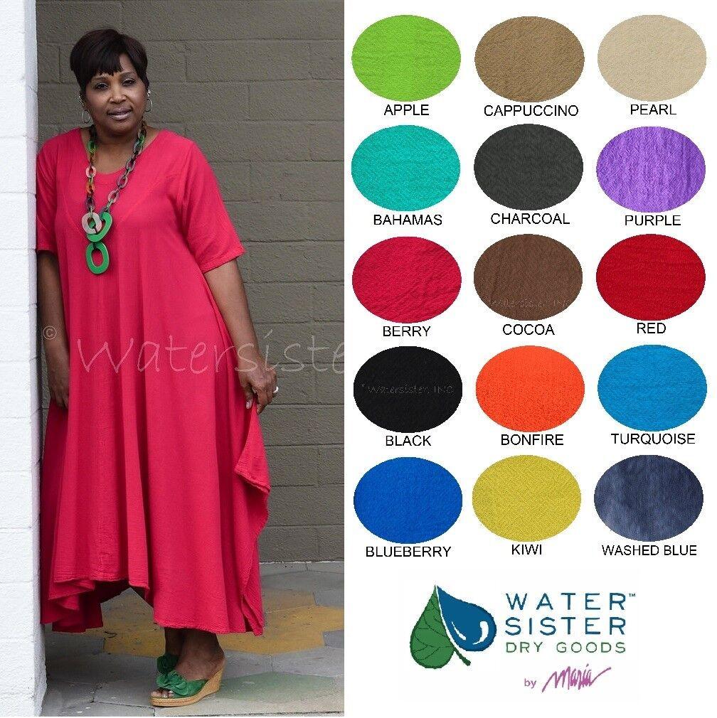 WATERSISTER Cotton Gauze CARRIE Yoke Dress Long 1(S M) 2(L XL) 3(1X) 2017 COLORS