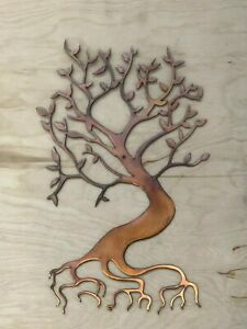 Bonsai Tree Wall Metal Art Hanging With Rustic Copper Finish Ebay