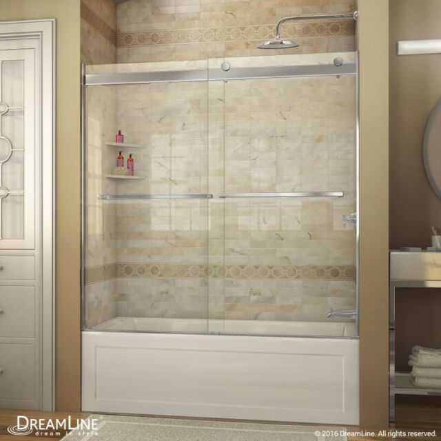 Dreamline Essence 56 To 60 In Frameless Bypass Tub Door In Chrome