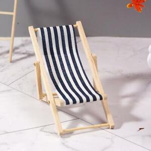 Mini-Dollhouse-Miniature-Garden-Beach-Furniture-Folding-Deck-Chair-Blue-Stripe