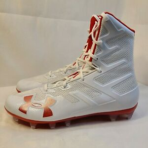 New-Under-Armour-Highlight-MC-White-Red-Football-Cleats-3020266-102-Mens-Size-10