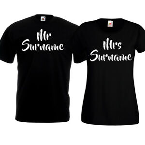3d017f791c Script Mr And Mrs Custom Surname T Shirts Personalised His & Hers ...