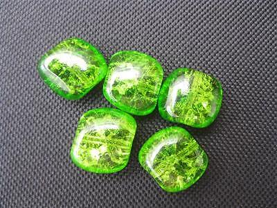 5  böhmische Crash Perlen grün 15x13mm 10883
