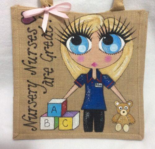 Personalised Nursery Nurses Are Good Jute Style Celebrity Handbag Hand Bag Gift