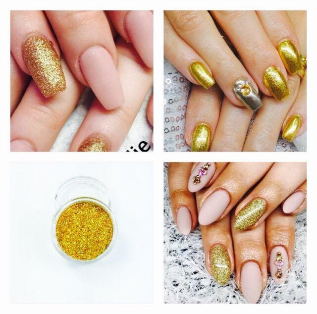 Gold Glitter Acrylic Powder Nail Extension Builder Fake False Nails Sparkly DIY