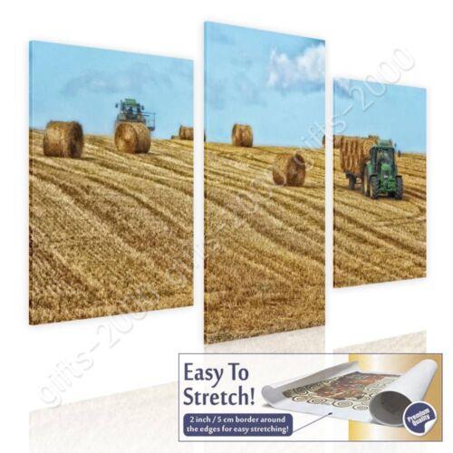 Rolled 3 Panels Wall art Hay Bales On Farm Field by Split 3 PanelsCanvas