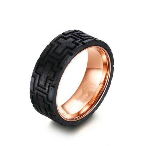 Fashion Hommes Rose placage or bague de mariage Croix fibre de carbone bande 8 mm Taille 9-12