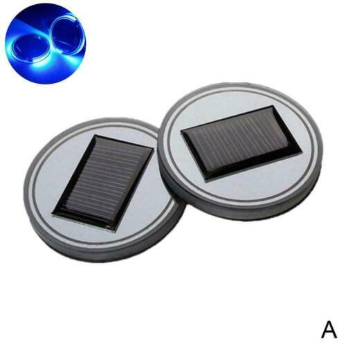 2Pc Solar Cup Pad LED Light Cover Interior Decor Non-Slip Mat New P9K5