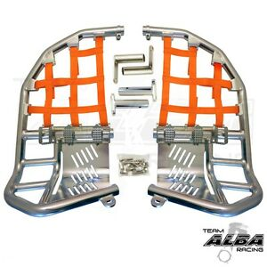 Raptor 660  Nerf Bars   Pro Peg Heel Gaurds   Alba Racing   Silver Yellow   203